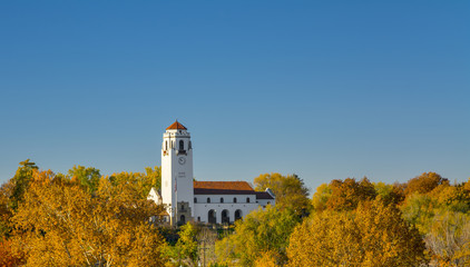 Fall colors surround the Boise Train depot