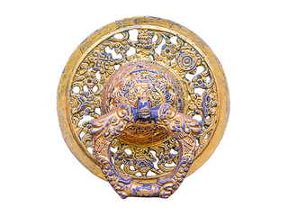 Close up old gold knocker
