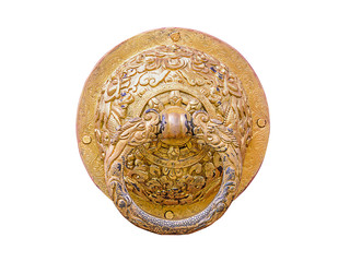 Close up old gold knocker