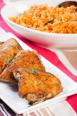crispy herbed chicken with java rice