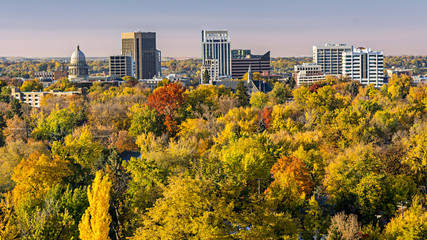 City of trees Boise Idaho in the fall