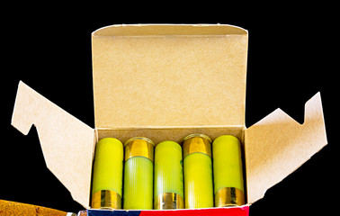 Case of shotgun shells placed neatly