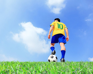 Soccer player man with ball