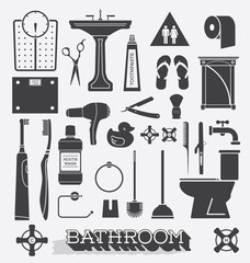 Vector Set: Bathroom Icons and Silhouettes