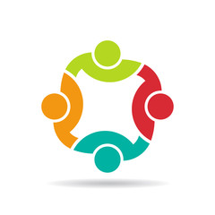 Team 4 congress logo.Concept group of connected people
