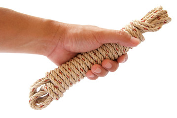 white coil rope in hand