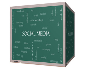 Social Media Word Cloud Concept on a 3D cube Blackboard