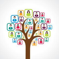 creative colorful social media people tree concept vector