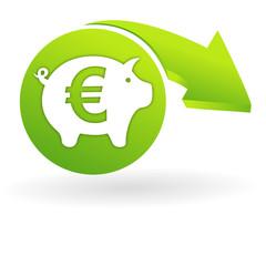 épargne euro sur web symbole vert