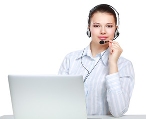 young customer service girl with a headset at her workplace