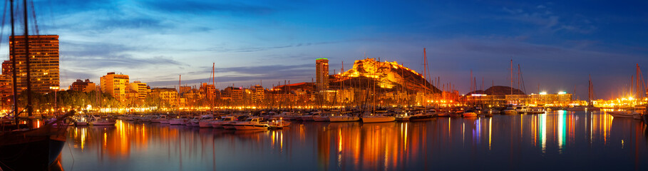 Alicante in night, Spain
