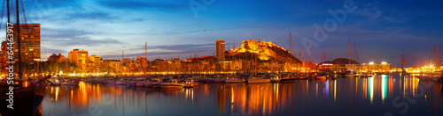 Foto op Canvas Poort Alicante in night, Spain