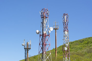 Towers with aerials of cellular