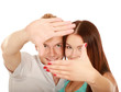 Portrait of attractive couple making frame from fingers