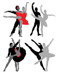 Silhouettes of ballet dancers, vector