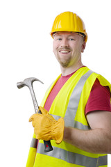 Carpenter Contractor Man Hardhat Isolated on White