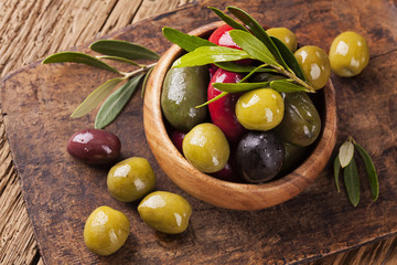 Bowl with mixed olives