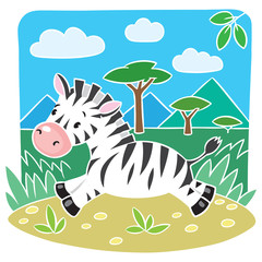 Children vector illustration of Little Zebra
