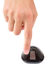 Finger points to right button of touch computer mouse isolated
