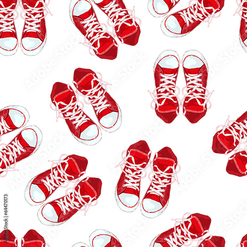 Red sneakers on white background isolated. Vector illustration © J_ka