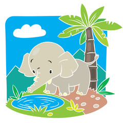 Children vector illustration of elephant.