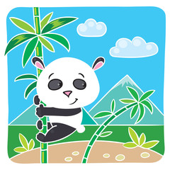 Little panda on bamboo