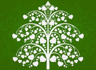 Beautiful Buddha tree art pattern on a green background