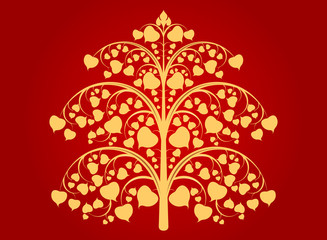 Buddha tree art pattern on a red background