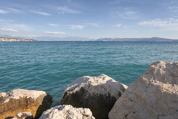 Croatian landscape with boulders and the Adriatic Sea