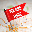 We Are Here - Small Flag on a Map Background. - 64471362