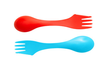Pair of plastic varicolored camping cutlery tools spoons and for