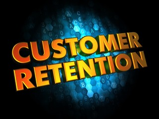 Customer Retention - Gold 3D Words.