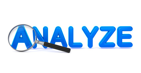 Analyze - Blue 3D Word Through a Magnifying Glass.