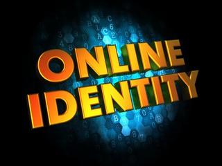 Online Identity - Gold 3D Words.