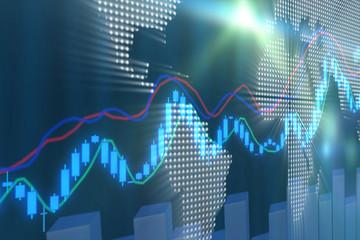 Stock Market Graph and Bar Chart
