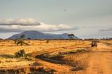 Jeep nel tramonto della savana