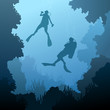 Square illustration of divers under water. - 64472114