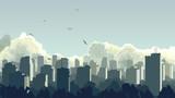 Fototapety Illustration of big city in blue tone.