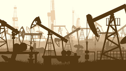 Horizontal illustration with units for oil industry.