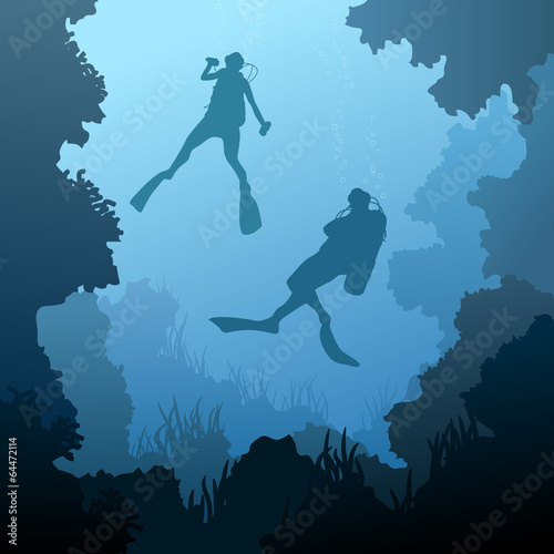 Square illustration of divers under water.