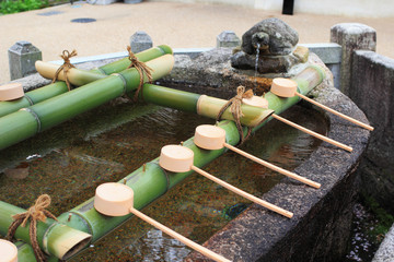 A wash water well at Hesedera temple in Nara, Japan