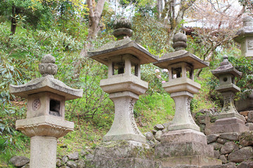 Stone tower japanese lanterns in Hasedera temple Nara Japan