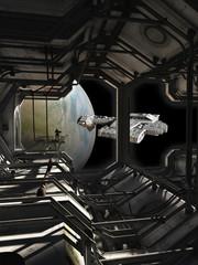 Spaceship Leaving the Docks