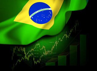 Market Financial Data with flag of Brazil