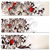 Fotoroleta Karty w motywy florystyczne i czerwone biedronki