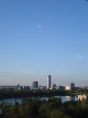 View of office buildings in Aviatiei district in Bucharest