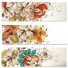 Business cards set with swirls for design