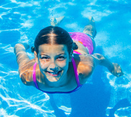 Underwater beautiful girl
