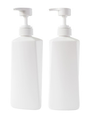 Shampoo bottles on white background with clipping path