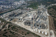 Aerial view of oil refinery in Sicily, Italy, Europe